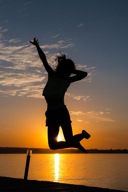 Girl, Jumping, Back-light, Sunset