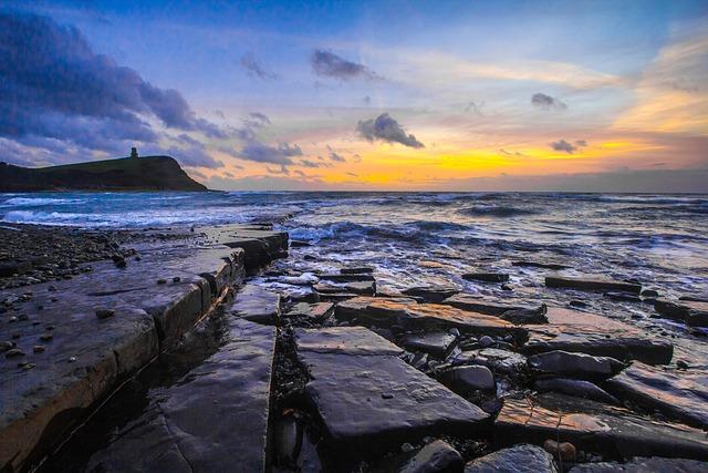 Jurassic Coast, Sunset, Ocean, Dorset, Beach, Sea