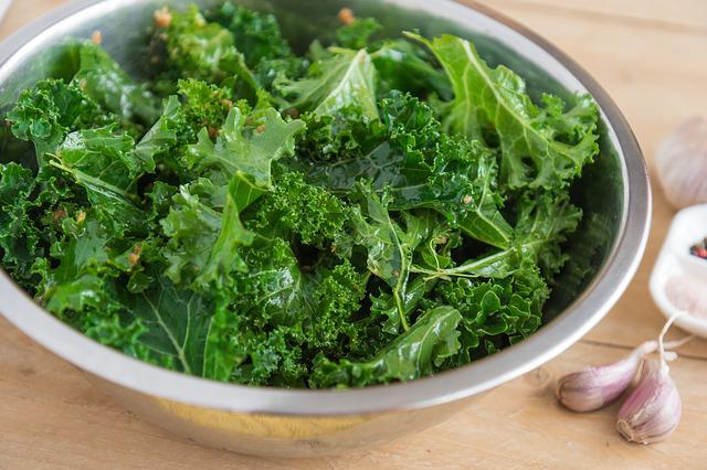 Kale, Garlic, Chips From Kale, Foliage, Cabbage