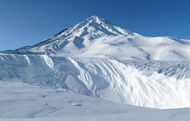 Koryaksky Volcano, Kamchatka, Winter, Snowy Mountains