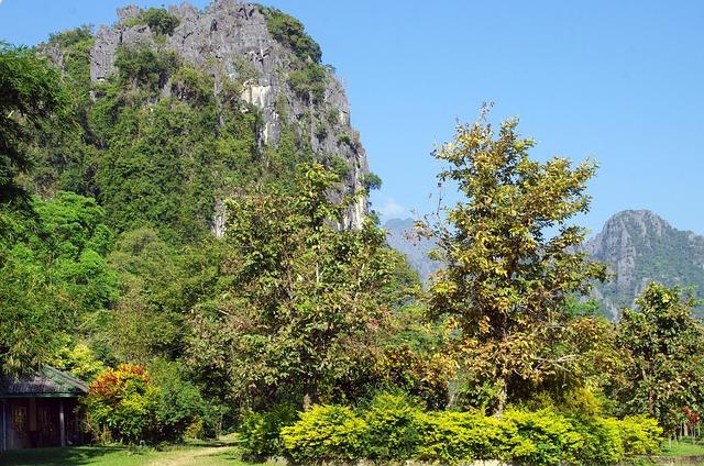 Laos, Vang Vieng, Relief, Karst, Temple, Bleak, Forest