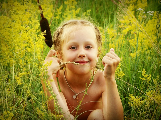 Baby, Girl, Grass, Flowers, Kashka, Reed, Field, Summer