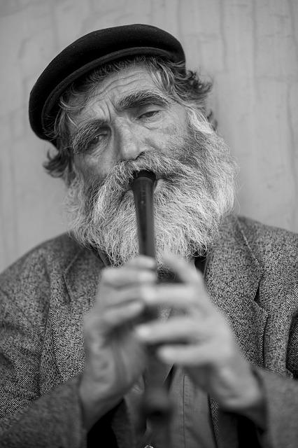 Old, Male, Beard, Music, Kaval, Flute, Loneliness