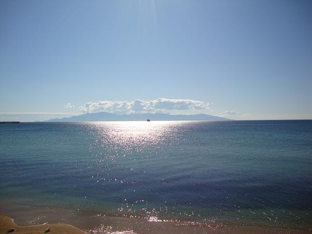 Kavala, Thassos, Sea, Greece, Blue, Sky, Clouds, Sun