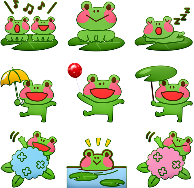Kawaii Frog, Frog, Singing Frog, Swimming Frog, Toad