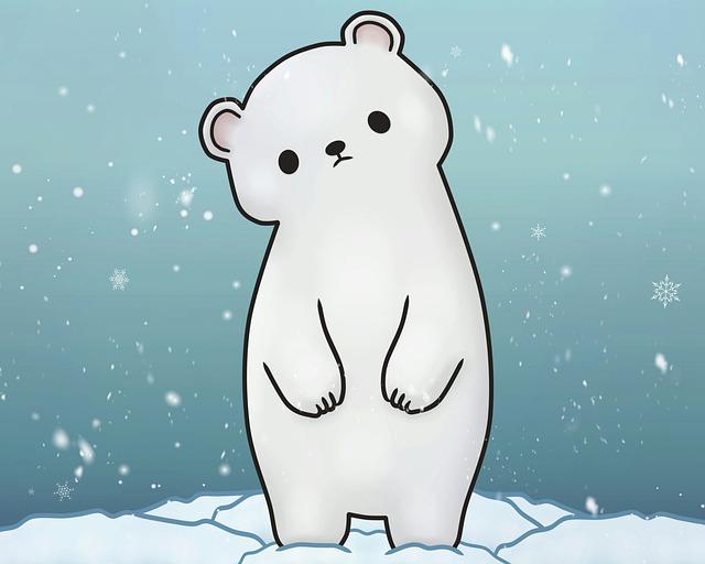 Polar Bear, Snow, Snowing, Winter, Illustration, Kawaii