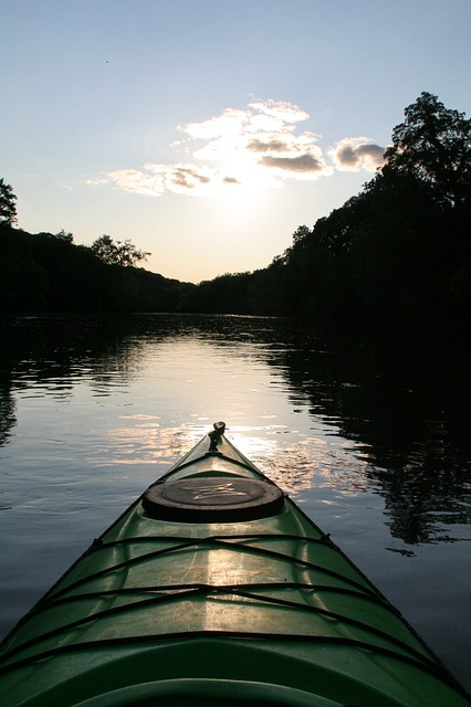 River, Kayak, Kayaking, Paddling, Summer, Sunset