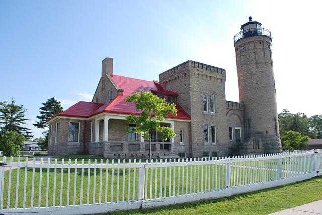 Lighthouse, Old, Brick, Keeper, Mackinac