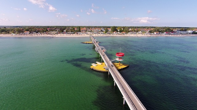 Baltic Sea, Kellenhusen, Sea Bridge, Luftbildaufnahme