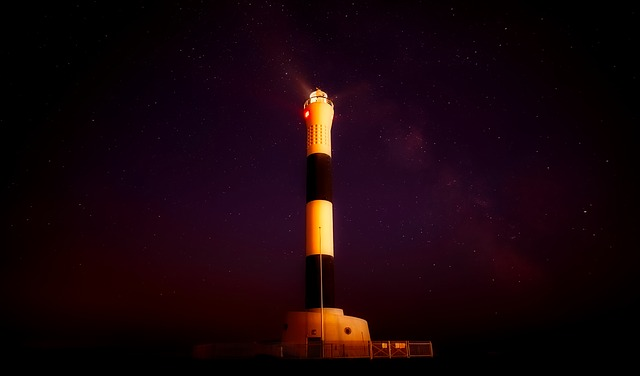 Kent, England, Lighthouse, Stars, Night, Evening, Light