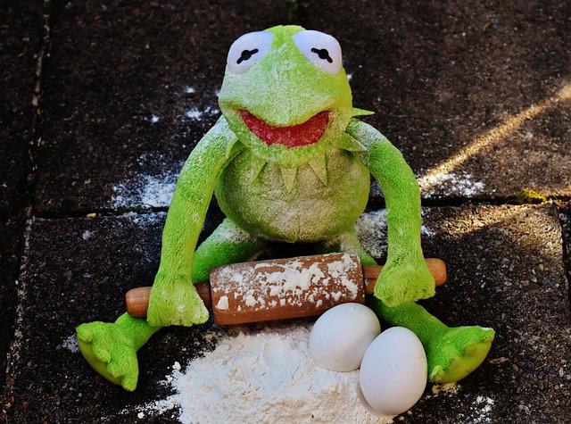 Kermit, Bake, Rolling Pin, Egg, Flour, Ingredients