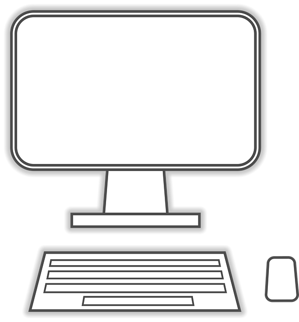 Computer, Monitor, Keyboard, Mouse, Line Drawing, Flat