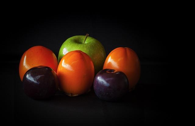 Fruit, Still Life, Apple, Khaki, Persimon, Plum