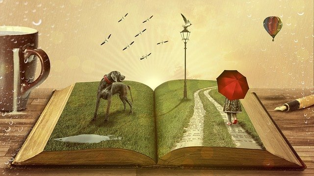 Book, Dog, Fairy Tales, Child, Kid, Umbrella