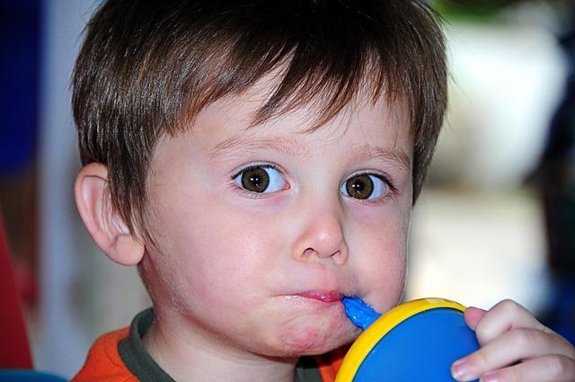 Little, Boy, Kid, Child, Big Eyes, Drinking, Eat, Food