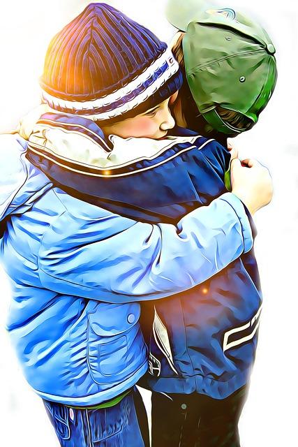 Digital, Graphics, Kid, Kids, Lovely, Hug, Friend