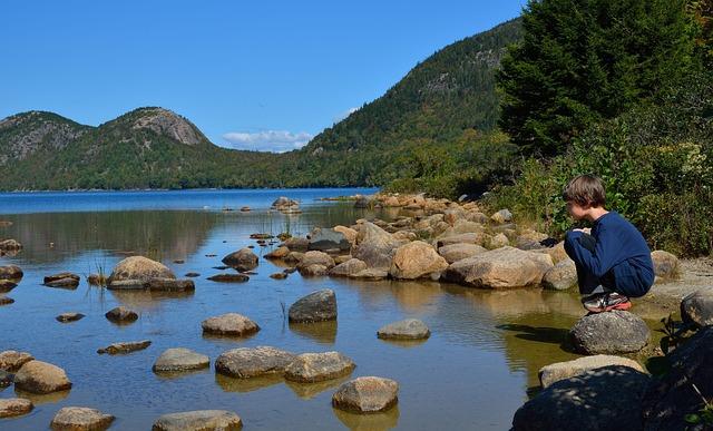 Child, Lake, Kid, Acadia, Maine, Outdoor, Reflection