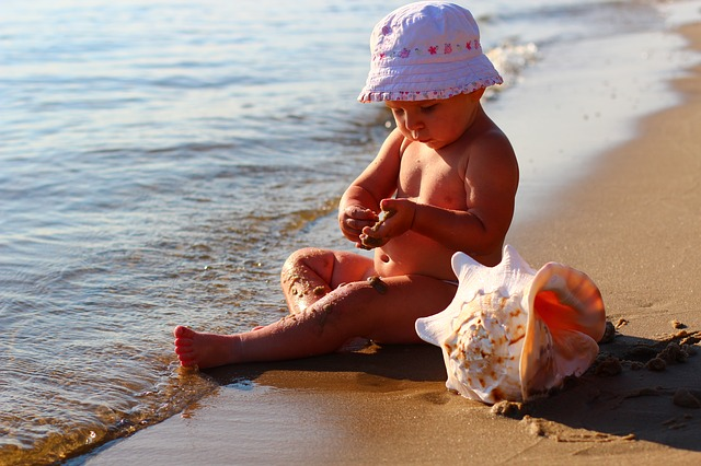 Kids, Sea, Beach, Happy, Todler, Cap, Seashells, Sand