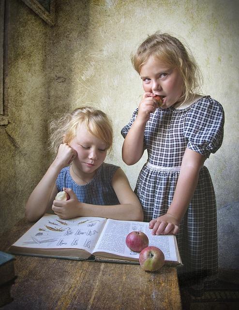 Kids, Book, Retro, Apples, Girls, Reading