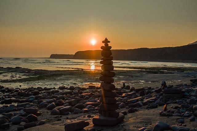 Kimmeridge Bay, England, Sunset, Ocean