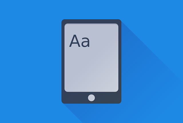 Ebook, Book, Kindle, Logo, Blue, Letters, Flat
