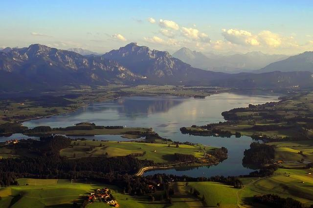 Lake Forggensee, Aerial View, Summer, Lake, King Angle