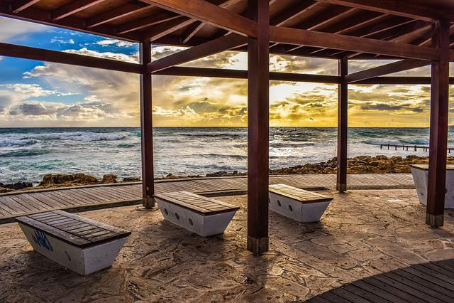Promenade, Sea, Bench, Kiosk, Relaxation, Seashore, Sky