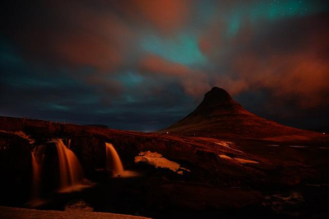 Kirkjufell, Iceland, Waterfall, Mountain, At Night