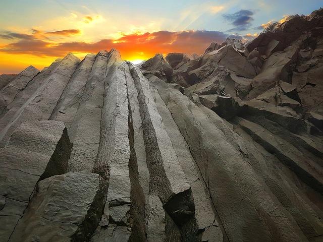 Basalt Bars, Sunset, Iceland, Kirkjufjara