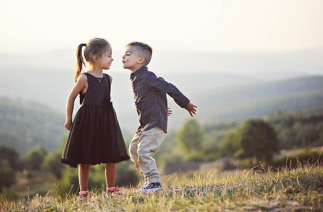 Children, Siblings, Brother, Sister, Friends, Kiss