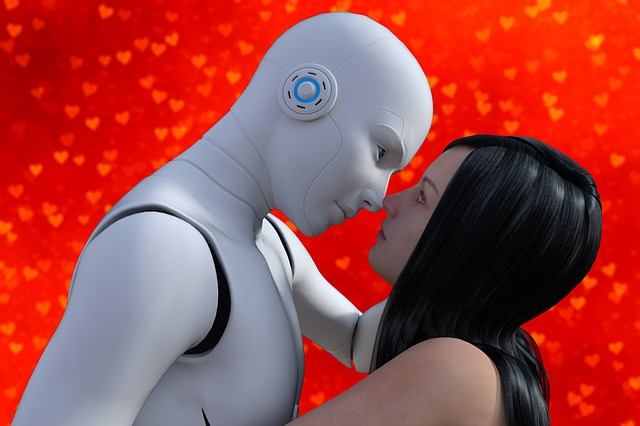 Woman, Robot, Kiss, Lover, Female, Girl, Futuristic