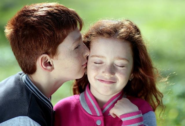 Children, Affection, Kiss, Kids, Young, Boy, Girl