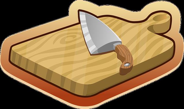 Cutting Board, Brown, Wooden, Knife, Kitchen, Utensils