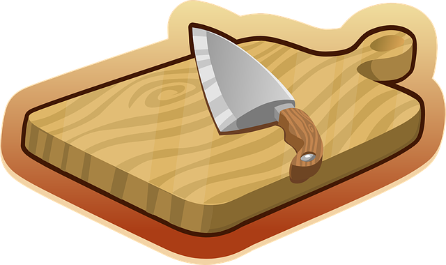 Cutting Board, Brown, Wooden, Knife, Kitchen, Utensils