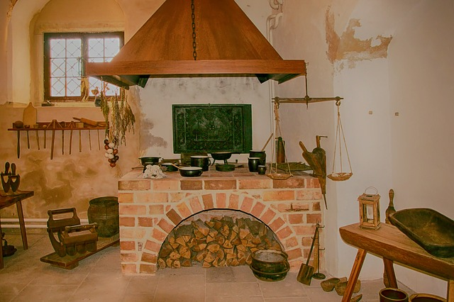 Kitchen, Historically, Fireplace, Wood