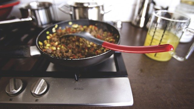 Food, Cook, Kitchen, Stir, Sautã©, Pan, Ladle, Stove