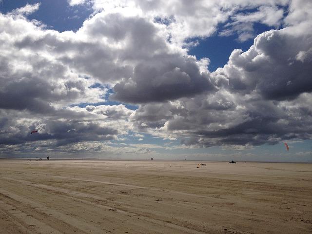 Kite, Römö, Clouds, Beach
