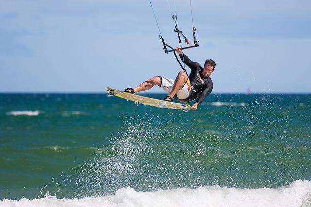 Kite Boarder Wave Jumping, Kite Boarding, Kite Surfing