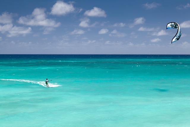 Blue, Board, Kite Surfing, Kiteboarding, Kiter