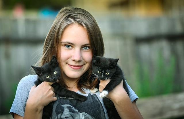 Girl, Kittens, Happiness, Smile, Delight, Care