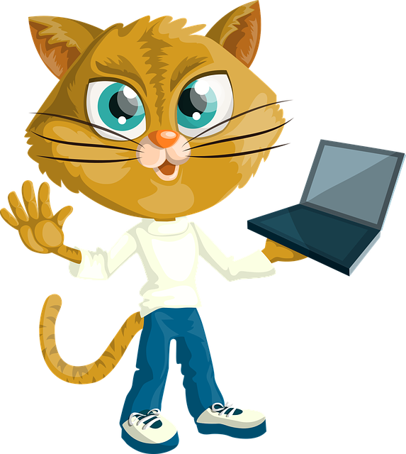 Cat, Kitty, Boy, Holding, Laptop, Computer, Dressed