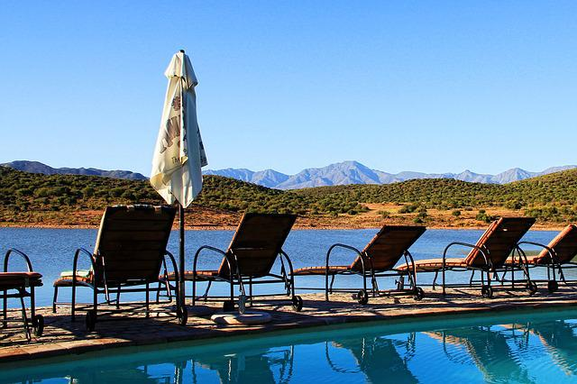 South Africa, Klein Karoo, Parasol, Pool, Deck Chair