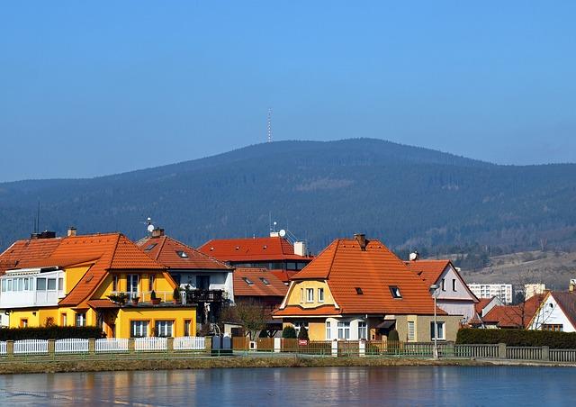 Sky, Kleť Hill, Houses, Bohemia, Pond, Water, Spring