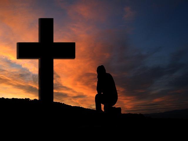 Cross, Sunset, Silhouette, Human, Kneeling, Knee, Pray