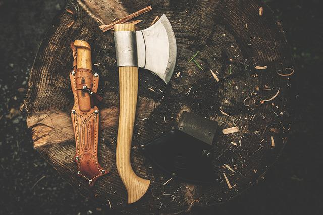 Axe, Campingmesser, Knife, Retro, Log, Weapons