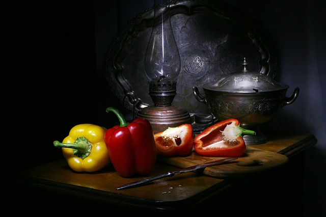 Still Life With Pepper, Bulgarian, Red, Yellow, Knife