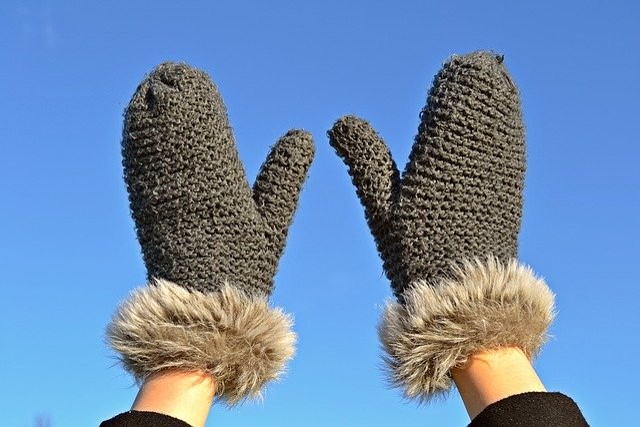 Mittens, Gloves, Knitted, Pels, Blue Sky, Winter