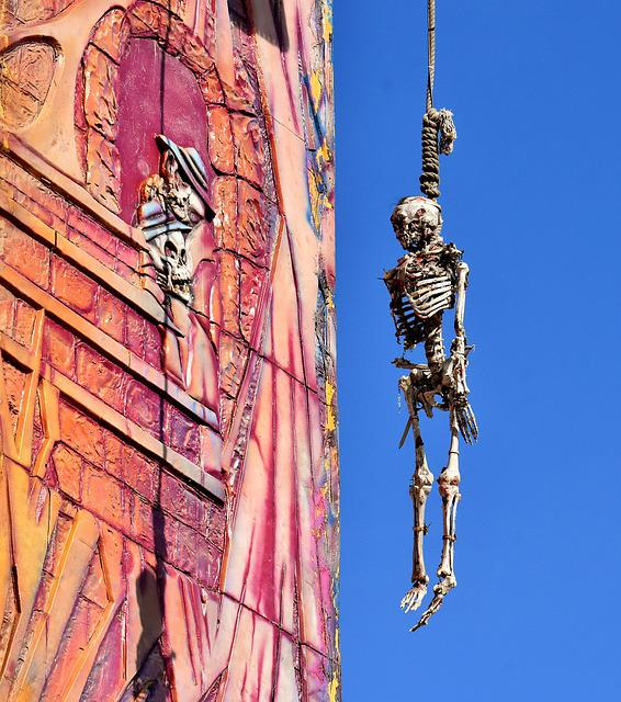 Skeleltt, Gallows, Depend, Rope, Knitting, Suspended