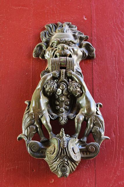 Knocker, Knocker Bronze, Door, Bronze, Cherubim