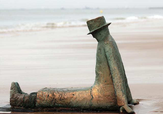 Belgium, Statue, Knokke, Beach, Man On The Beach